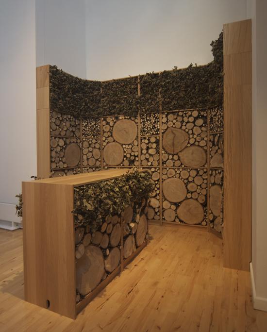 absent_referent, 2008, Oak tree, IKEA book shelves in oak veneer.