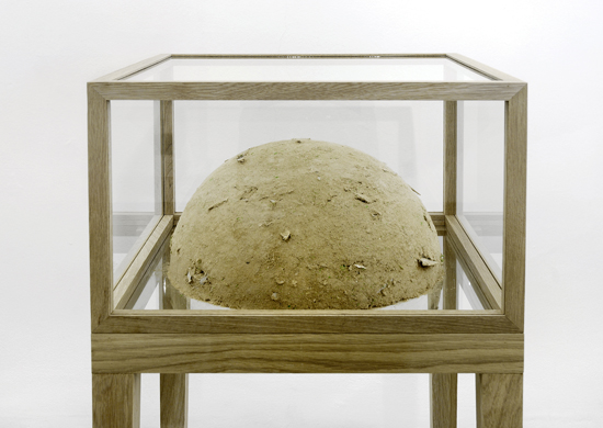 ashes_to_ashes, 2008. materials- pulverised Lack coffee tables in oak and glass vitrines. Photographer- Uwe Walter
