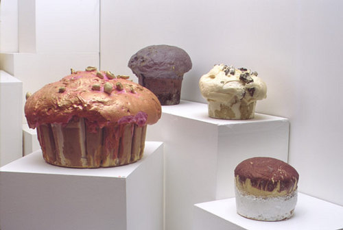 Assorted Muffins, 2003 expanding foam, pigment & paper variable dimensions (Installation)