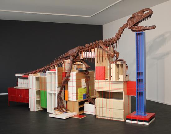 Future Remnant, 2011. dinosaur fossil replica, cable binding, IKEA furniture.