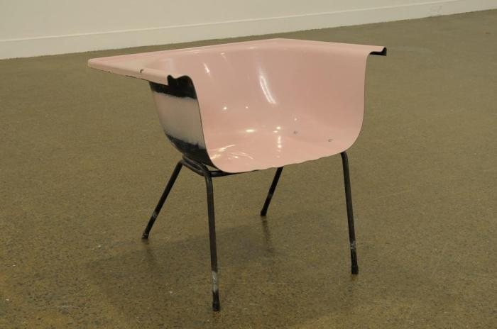 Pink Chair 2011 Bath tub, metal and rubber