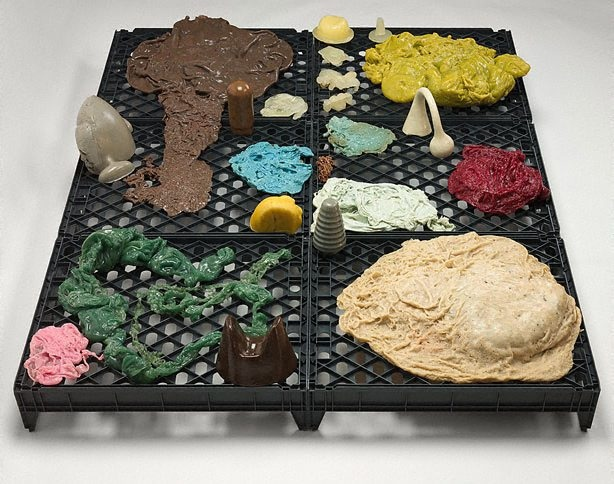 1994 plastic trays, Hot Melt, oil paint