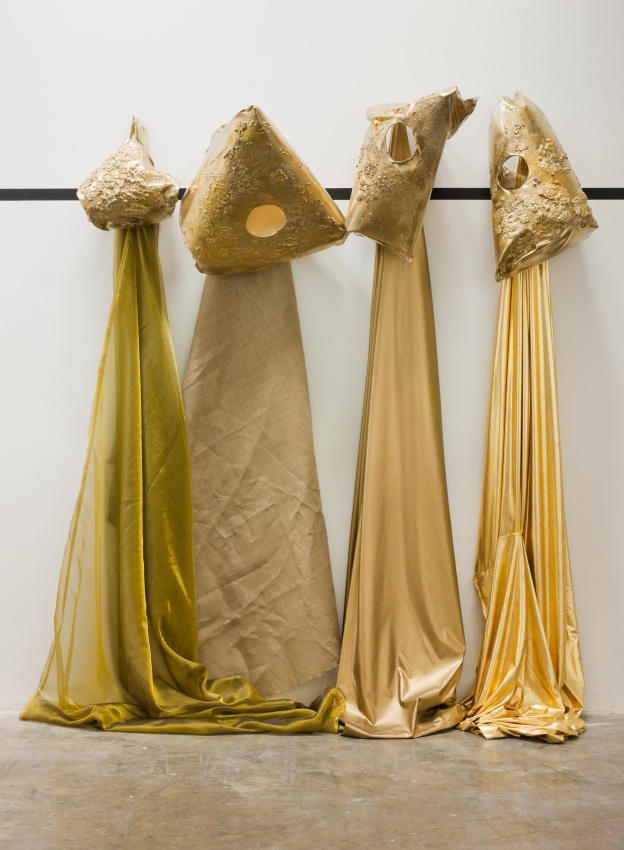 The Collapzars#2, 2012 various fabrics, plastics, gold paint, plaster Image Denis Mortell