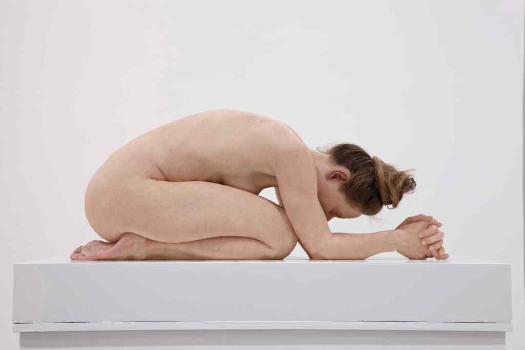 Untitled (Kneeling Woman) 2015 silicone pigment resin human hair 30 x 28 x 72 cm