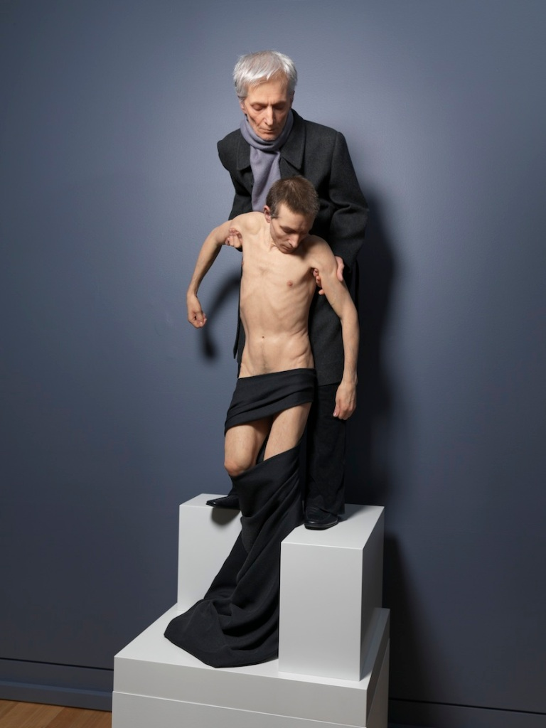Untitled (Standing Pieta) 2014 silicone pigment resin human hair 240 x 66 x 59 cm,