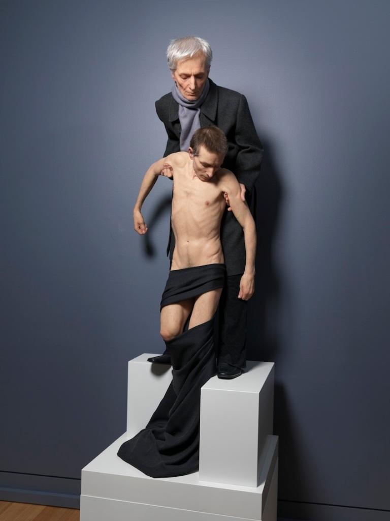 Untitled (Standing Pieta) 2014 silicone pigment resin human hair 240 x 66 x 59 cm,