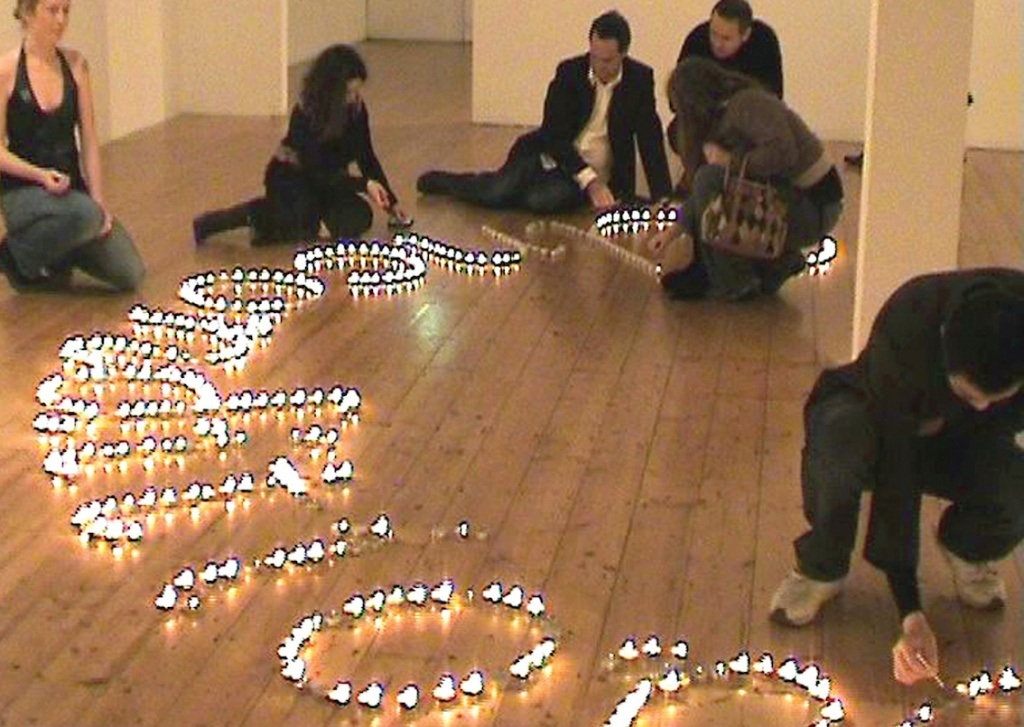 Unconditional Regard 2005, tea-light candles, 300 people (Gertrude Contemporary Art Spaces, Melbourne)