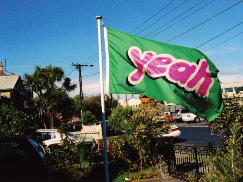 Jon Campbell Yeah Flag 2004, bunting, polycotton